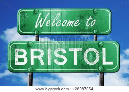bristol vintage green road sign with blue sky background