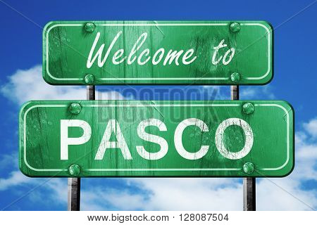 pasco vintage green road sign with blue sky background