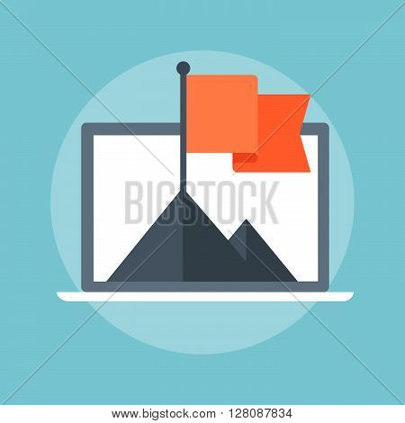 Flag And Mountain Flat Style, Colorful, Vector Icon