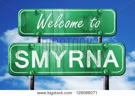 smyrna vintage green road sign with blue sky background