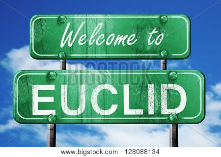 euclid vintage green road sign with blue sky background