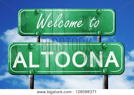 altoona vintage green road sign with blue sky background