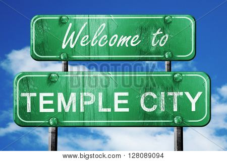 temple city vintage green road sign with blue sky background