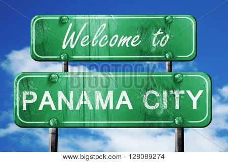 panama city vintage green road sign with blue sky background