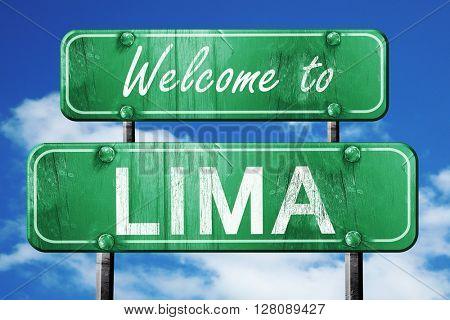lima vintage green road sign with blue sky background