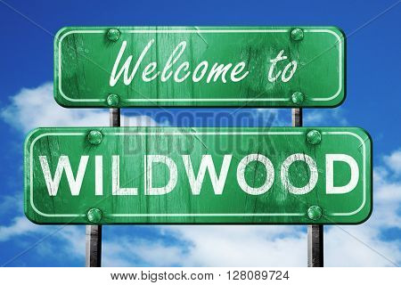wildwood vintage green road sign with blue sky background