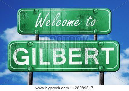 gilbert vintage green road sign with blue sky background