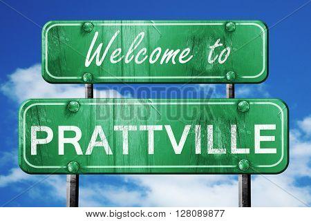prattville vintage green road sign with blue sky background