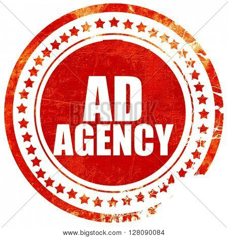 ad agency, grunge red rubber stamp with rough lines and edges