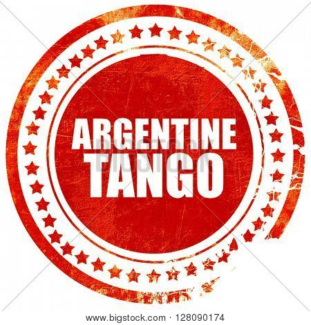 Argentine tango, grunge red rubber stamp with rough lines and ed