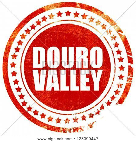 douro valley, grunge red rubber stamp with rough lines and edges