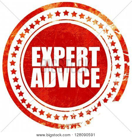 expert advice, grunge red rubber stamp with rough lines and edge