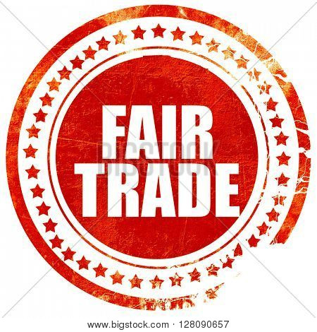 fair trade, grunge red rubber stamp with rough lines and edges