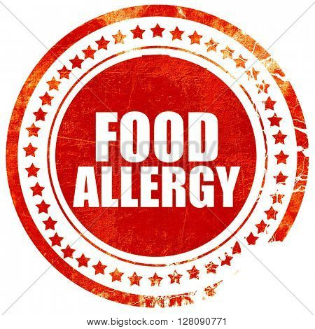 food allergy, grunge red rubber stamp with rough lines and edges