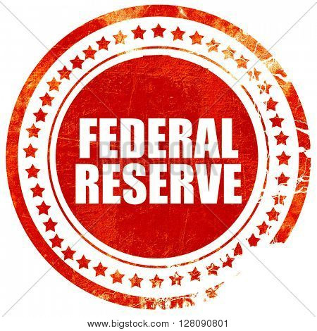 federal reserve, grunge red rubber stamp with rough lines and ed