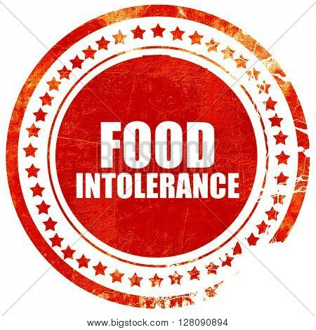 food intolerance, grunge red rubber stamp with rough lines and e