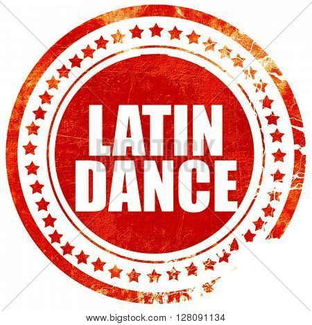 latin dance, grunge red rubber stamp with rough lines and edges
