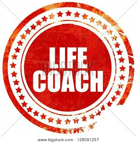 life coach, grunge red rubber stamp with rough lines and edges