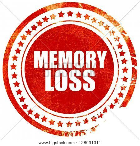 memory loss, grunge red rubber stamp with rough lines and edges
