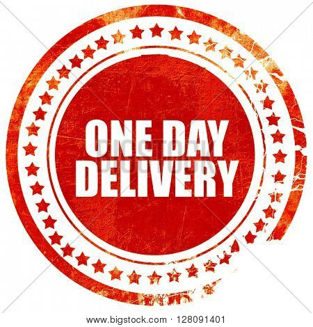 one day delivery, grunge red rubber stamp with rough lines and e