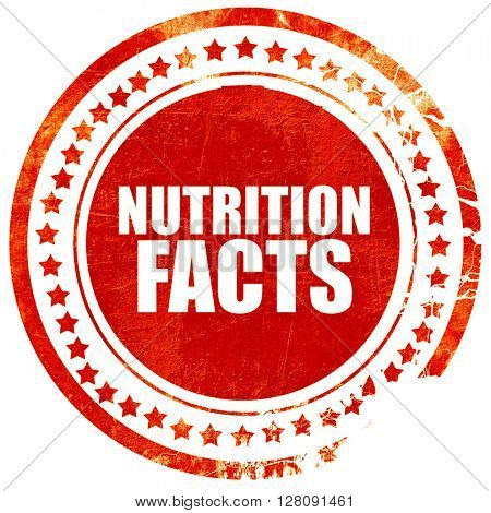nutrition facts, grunge red rubber stamp with rough lines and ed