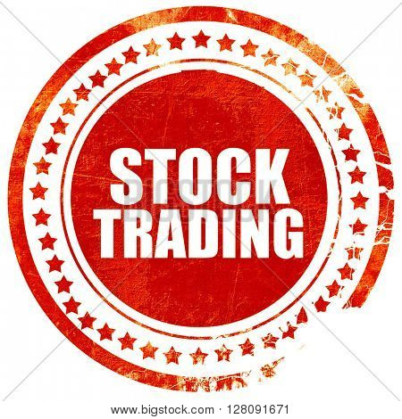 stock trading, grunge red rubber stamp with rough lines and edge