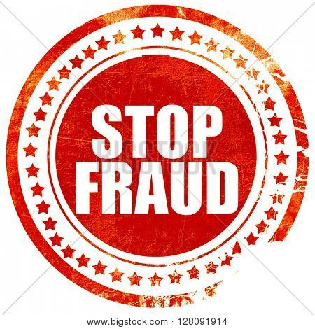 stop fraud, grunge red rubber stamp with rough lines and edges