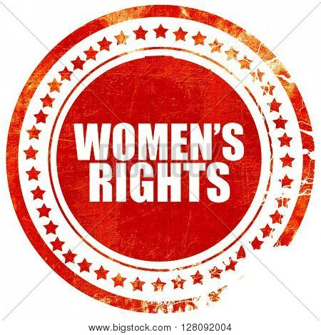 women's rights, grunge red rubber stamp with rough lines and edg