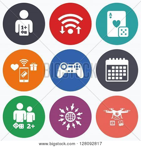 Wifi, mobile payments and drones icons. Gamer icons. Board games players signs. Video game joystick symbol. Casino playing card. Calendar symbol.