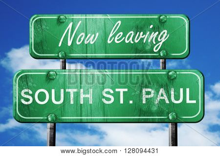 Leaving south st. paul, green vintage road sign with rough lette