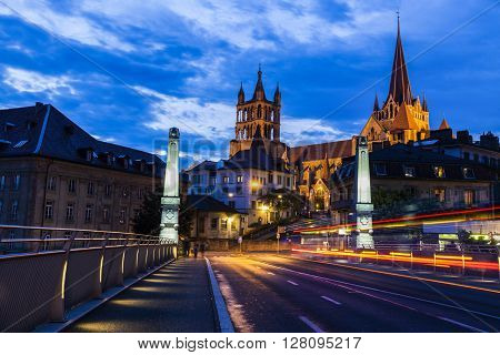 Lausanne Cathedral at night. Lausanne Vaud Switzerland.
