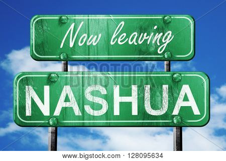 Leaving nashuaa, green vintage road sign with rough lettering