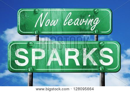 Leaving sparks, green vintage road sign with rough lettering