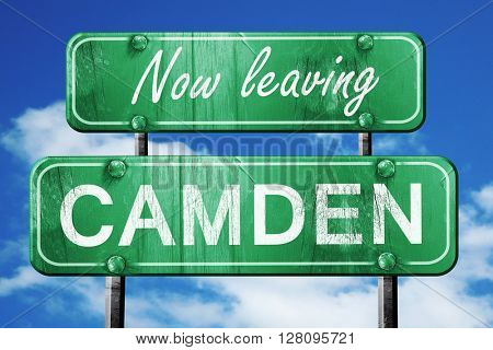 Leaving camden, green vintage road sign with rough lettering