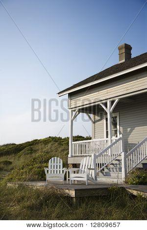 Coastal house with porch and deck on Bald Head Island, North Carolina.
