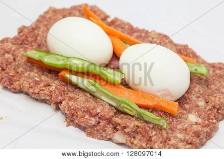 Stuffed meatloaf preparation : filled the Egg and Vegetables stuffed meatloaf