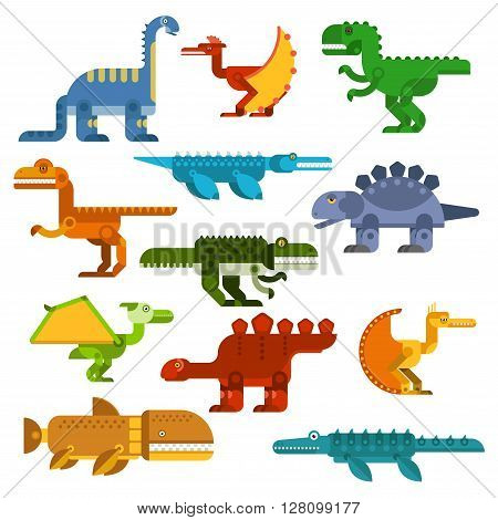 Colorful cartoon dinosaurs with flat symbols of pterodactyls, tyrannosaurus rex, brontosaurus, velociraptor, stegosaurus and prehistoric aquatic reptiles. Great for dino mascot, t-shirt print or children book design poster