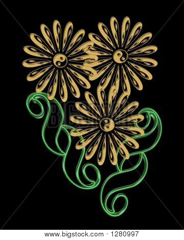 Yin Yang Flowers Design Over Black