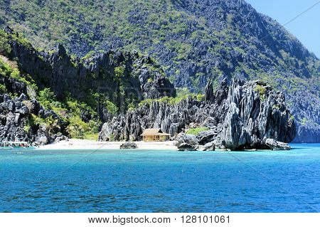 Beautiful seascape with tropical islands . Panorama. Philippines.