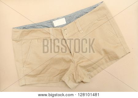 Image of begie chino shorts - top view