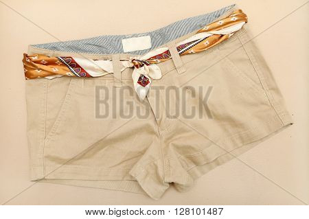 Chino shorts - top view - with scarf belt