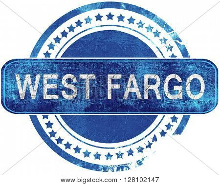 west fargo grunge blue stamp. Isolated on white.