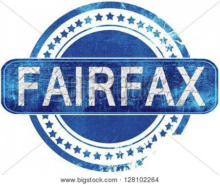 fairfax grunge blue stamp. Isolated on white.