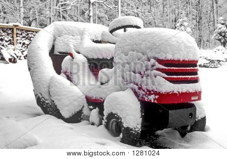 Lawn Tractor In Snow