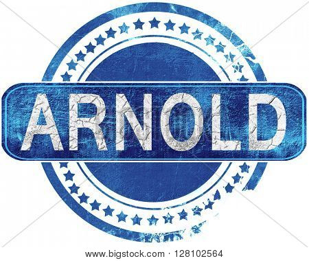 arnold grunge blue stamp. Isolated on white.