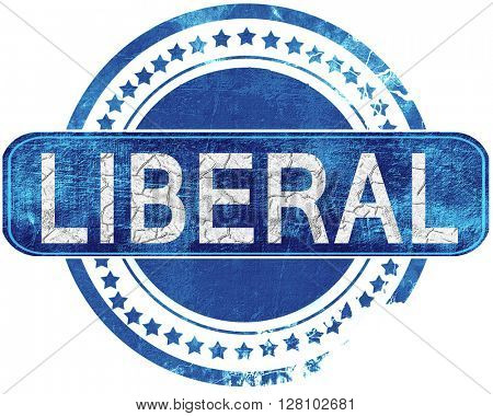 liberal grunge blue stamp. Isolated on white.