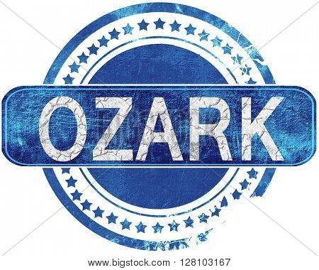 ozark grunge blue stamp. Isolated on white.