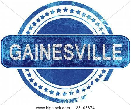 gainesville grunge blue stamp. Isolated on white.