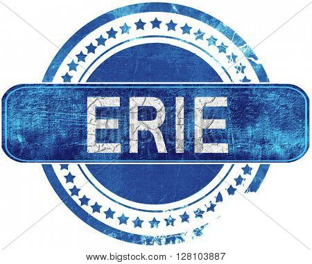 erie grunge blue stamp. Isolated on white.