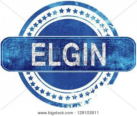 elgin grunge blue stamp. Isolated on white.